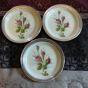 3 Rosenthal Germany Moss Rose Sterling Coasters